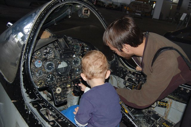 Willy tries to find the flaps for Calvin in a jet fighter trainer