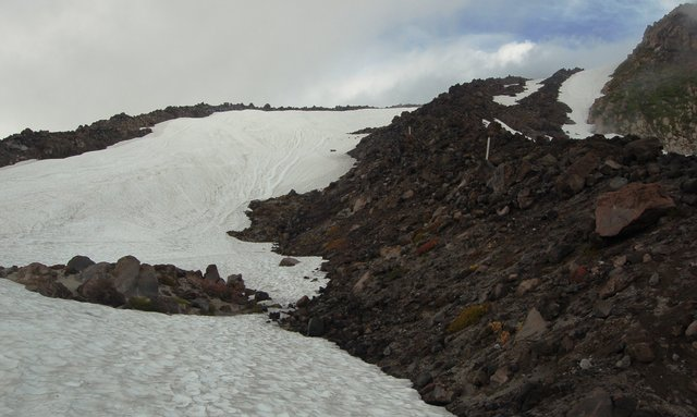Snowfield next to Monitor Ridge route