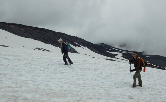 Dad and Willy ascend a snowfield on Mount St. Helens
