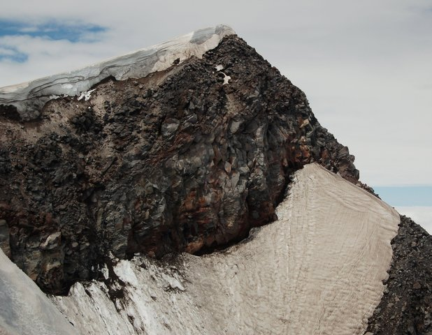The highpoint on Mount St. Helens' crater rim