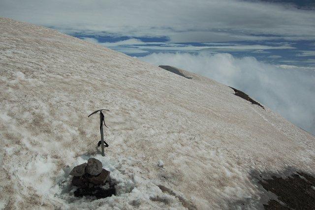 Summit cairn on Mount St. Helens