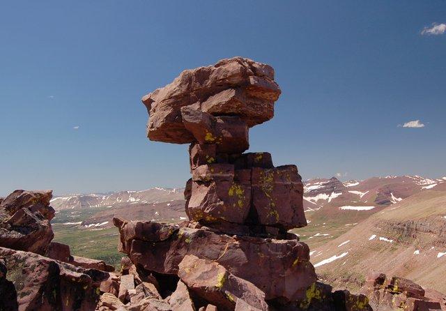 Precarious tower on north ridge of Kings Peak