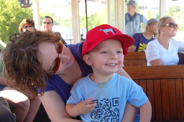 Calvin and Kiesa ride the Thomas the Tank Engine excursion train