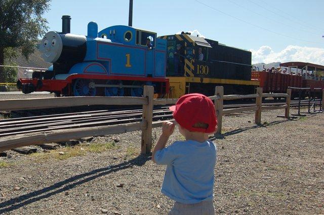 Calvin watches the Thomas the Tank Engine excursion train