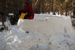 Building an igloo near the East Portal of the Moffat Tunnel