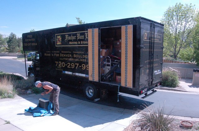 Moving truck arrives at Glendale Gulch