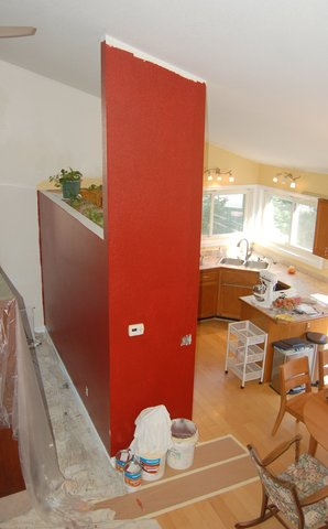 Painting in progress in the dining room