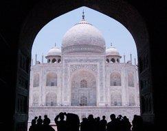 Taj Mahal framed by the meeting hall