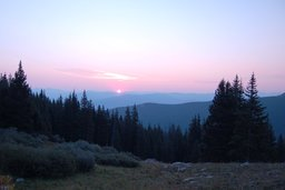 Sun rising over Vail from the Notch Mountain Trail