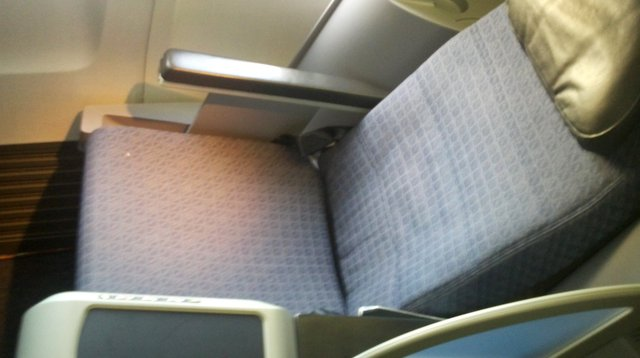 Lie-flat seat in United's BusinessFirst class