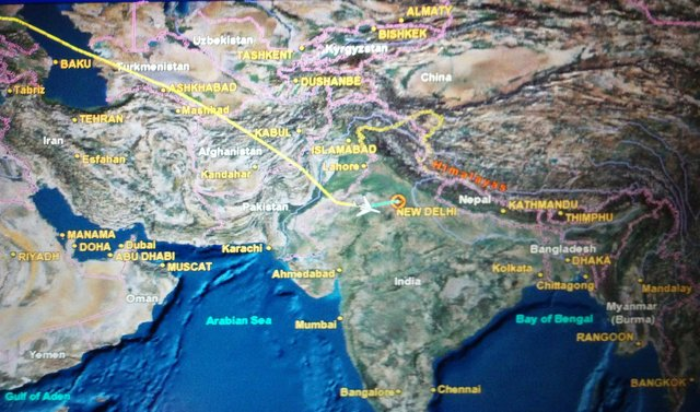 In-flight map on descent into Delhi