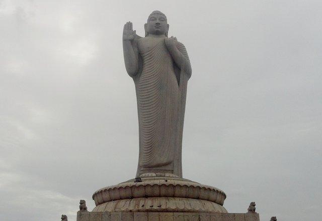 Buddha statue in Hussain Sagar, Hyderabad