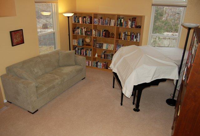 Living room with original carpet