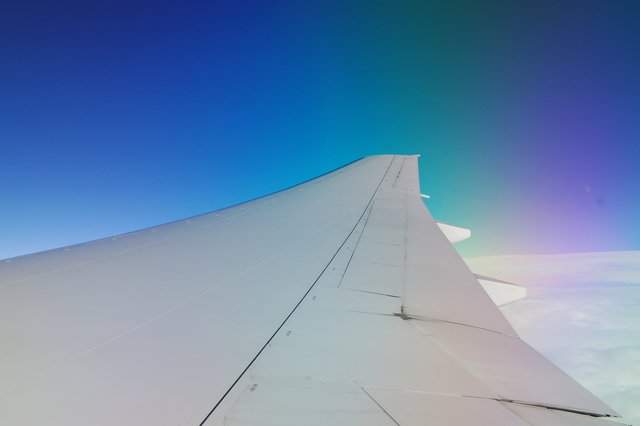 777 wing in flight off the coast of California