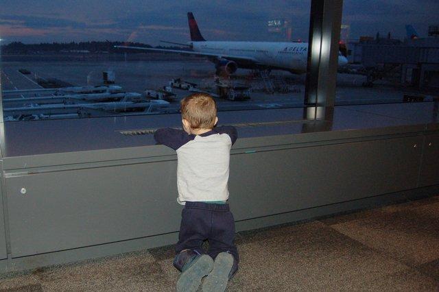 Calvin watches planes at Narita International Airport