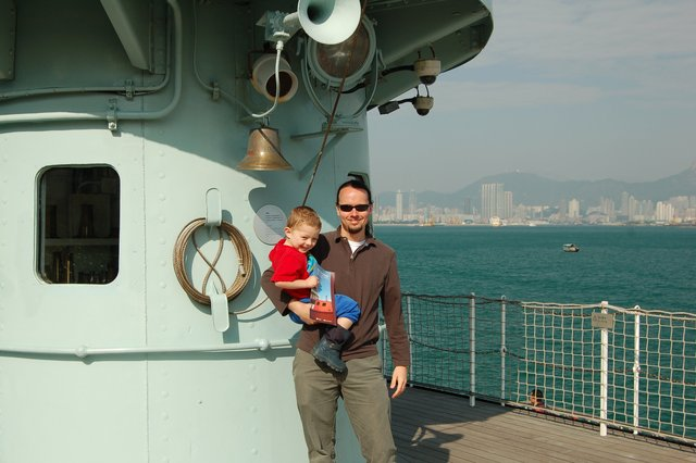 Jaeger and Calvin on the deck of the fireboat Sir Alexander Grantham