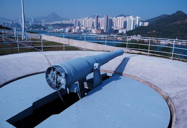 Disappearing gun at the Hong Kong Coastal Defense Museum