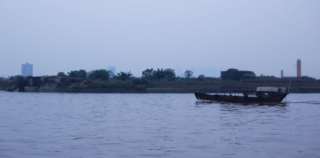 Small boat on the Pearl River in Huangpu