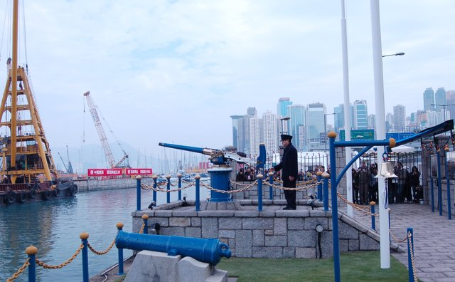 The noonday gun fires