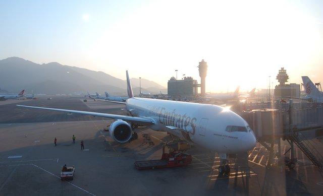 Emirates 777-300ER at Hong Kong International Airport