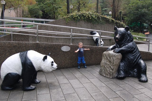 Calvin points to the panda statues at the Taipei Zoo