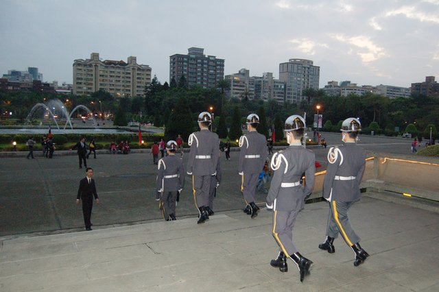 Honor guard marches down from the Sun Yat-sen Memorial Hall