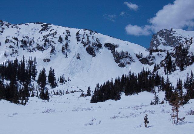 Spring snow running down Niwot Ridge