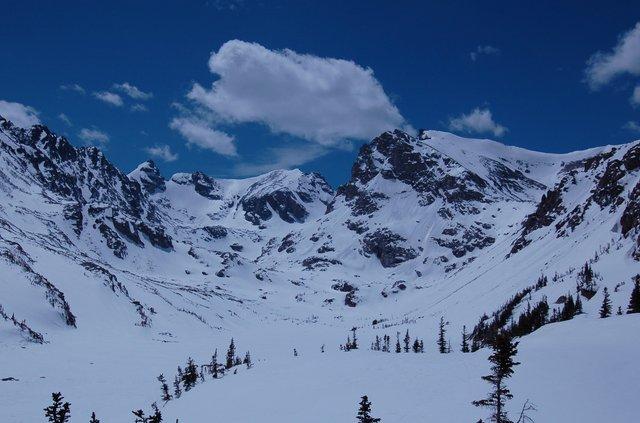 Navajo Peak, Apache Peak, Shoshoni Peak over Lake Isabelle in spring snow