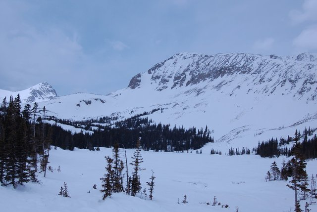 Mount Toll, Mount Audubon, and Mitchell Lake in spring snow