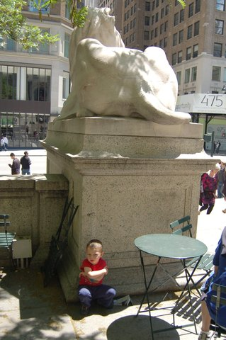 Calvin hides behind the New York Public Library lions
