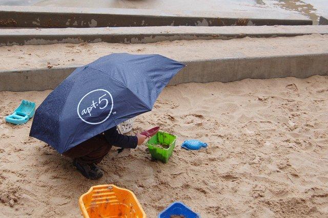 Calvin plays in the rain