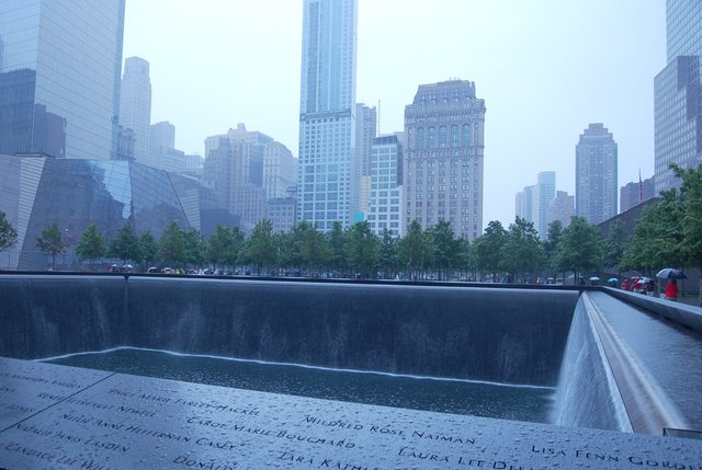 September 11 memorial, in the rain