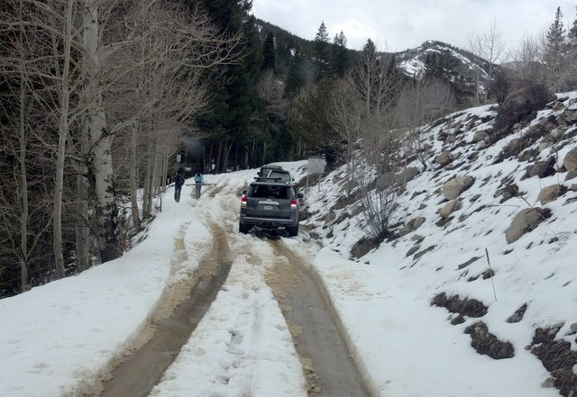 Road to Hessie in spring snow