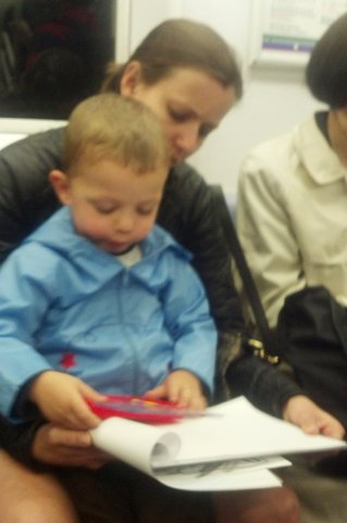 Calvin and Aunt Bethany in the subway, headed uptown