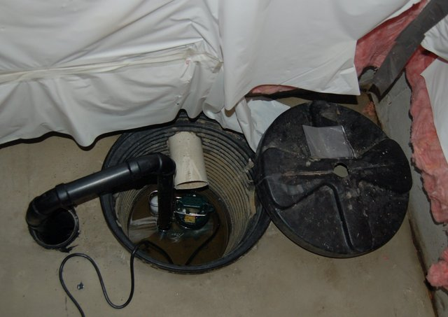 Basement sump with an actual sump pump