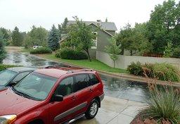 Post-flood rain in Boulder