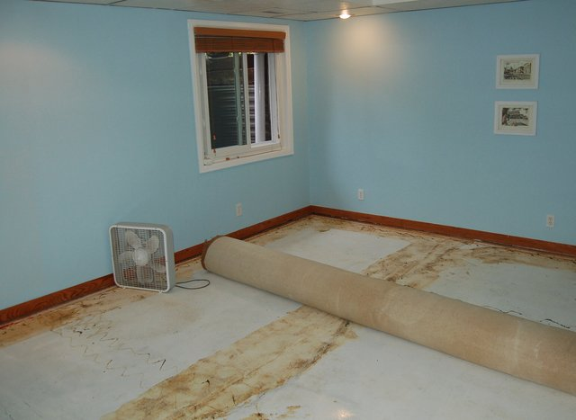 Basement with carpet rolled up
