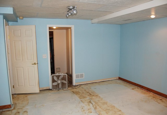 Basement with carpet removed