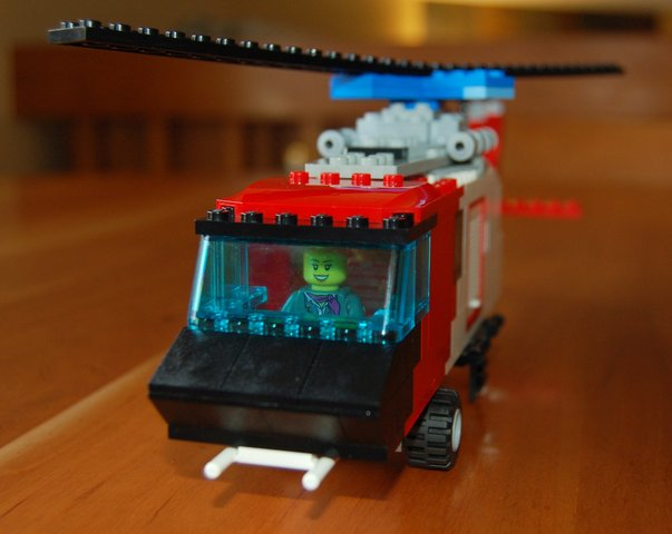 Front view of a Lego Seahawk helicopter