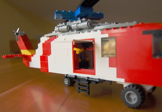 Side door open on a Lego Seahawk helicopter