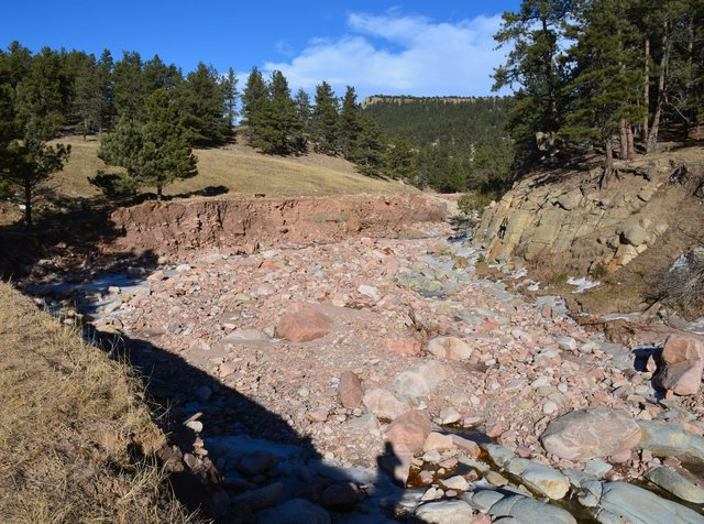Washed out road at Heil Valley Ranch