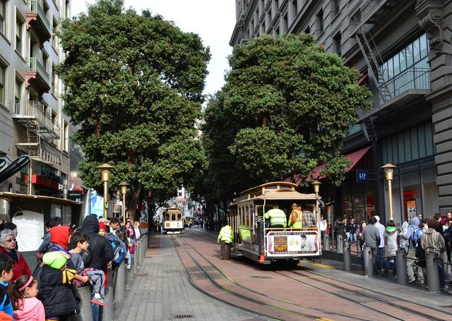 Cable cars wait for passengers