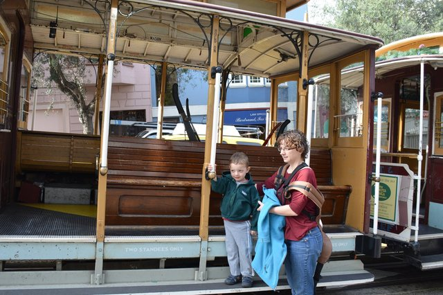 Calvin and Kiesa with a cable car