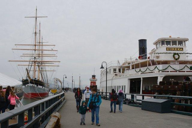 Calvin and Kiesa walk down Hyde St. Pier