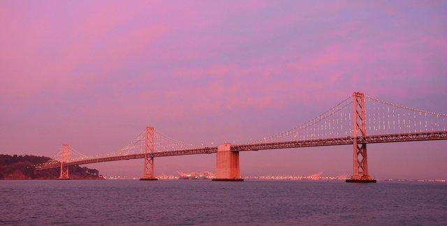 Western span of the Bay Bridge at dusk