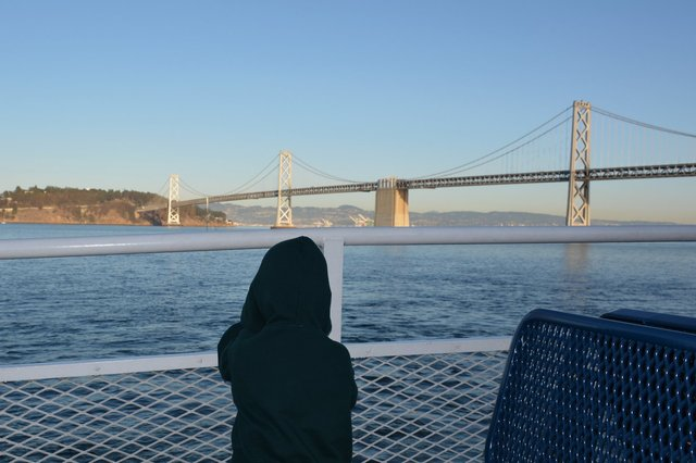 Calvin looks at the Bay Bridge from the ferry