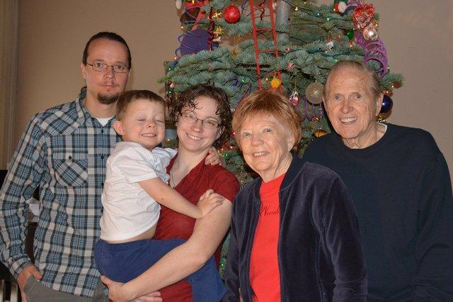 Calvin with Jaeger, Kiesa, and his Logan Great-Grandparents