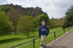 Calvin in Princes Street Garden in front of Edinburgh Castle
