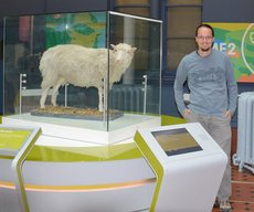 Jaeger with Dolly the cloned sheep