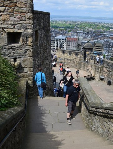 Kiesa climbs down stairs at Edinburgh Castle
